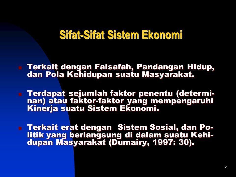 4 Sifat-Sifat Sistem Ekonomi Terkait dengan Falsafah, Pandangan Hidup, dan Pola Kehidupan suatu Masyarakat.