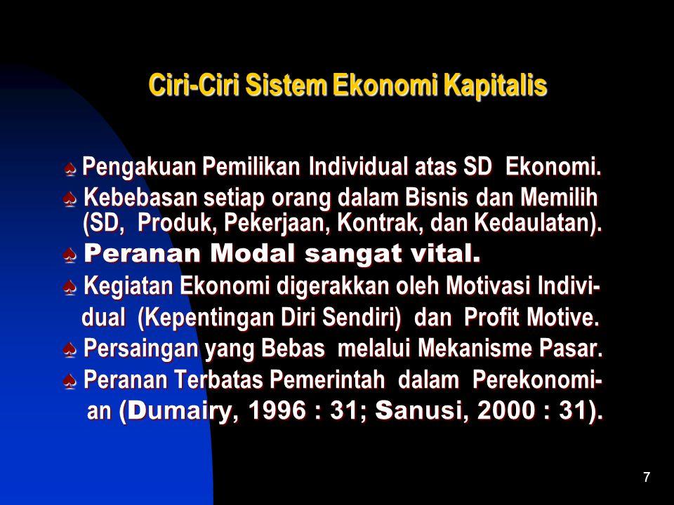 7 Ciri-Ciri Sistem Ekonomi Kapitalis ♠ Pengakuan Pemilikan Individual atas SD Ekonomi.