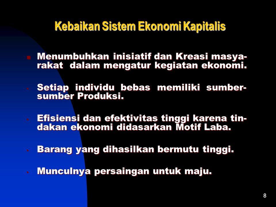 8 Kebaikan Sistem Ekonomi Kapitalis Menumbuhkan inisiatif dan Kreasi masya- rakat dalam mengatur kegiatan ekonomi.