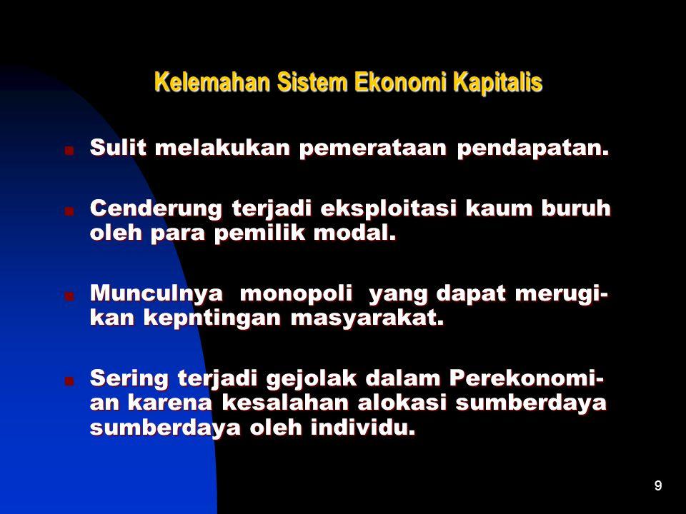 9 Kelemahan Sistem Ekonomi Kapitalis Sulit melakukan pemerataan pendapatan.