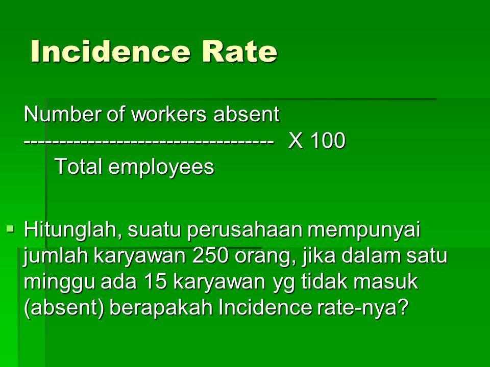 Incidence Rate Number of workers absent ----------------------------------- X 100 Total employees Total employees  Hitunglah, suatu perusahaan mempunyai jumlah karyawan 250 orang, jika dalam satu minggu ada 15 karyawan yg tidak masuk (absent) berapakah Incidence rate-nya?