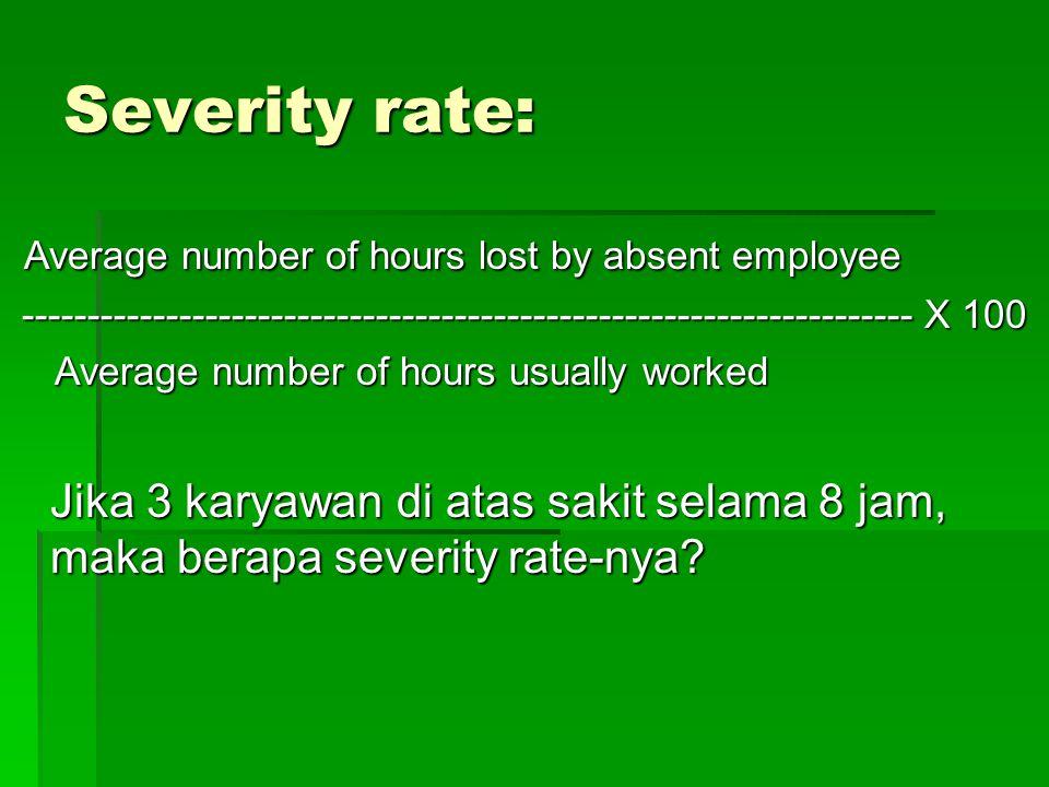 Severity rate: Average number of hours lost by absent employee Average number of hours lost by absent employee -------------------------------------------------------------------- X 100 -------------------------------------------------------------------- X 100 Average number of hours usually worked Average number of hours usually worked Jika 3 karyawan di atas sakit selama 8 jam, maka berapa severity rate-nya?