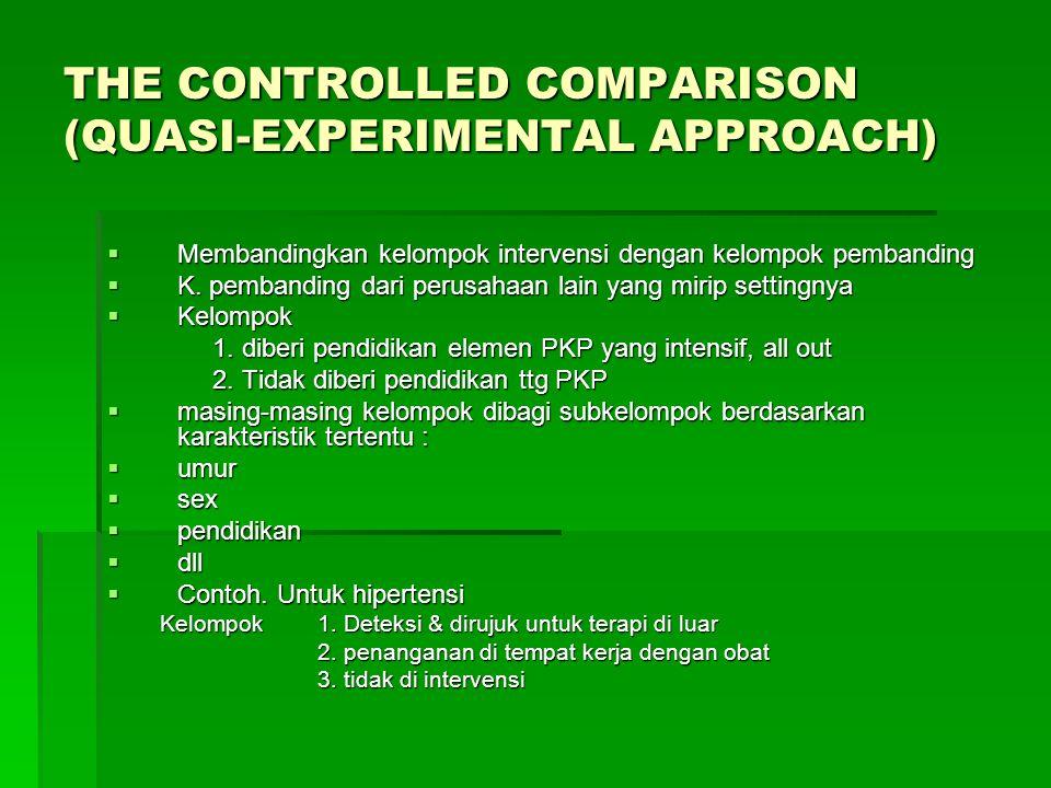 THE CONTROLLED COMPARISON (QUASI-EXPERIMENTAL APPROACH)  Membandingkan kelompok intervensi dengan kelompok pembanding  K.