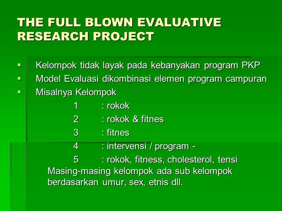 THE FULL BLOWN EVALUATIVE RESEARCH PROJECT  Kelompok tidak layak pada kebanyakan program PKP  Model Evaluasi dikombinasi elemen program campuran  Misalnya Kelompok 1: rokok 1: rokok 2: rokok & fitnes 3: fitnes 4: intervensi / program - 5: rokok, fitness, cholesterol, tensi Masing-masing kelompok ada sub kelompok berdasarkan umur, sex, etnis dll.