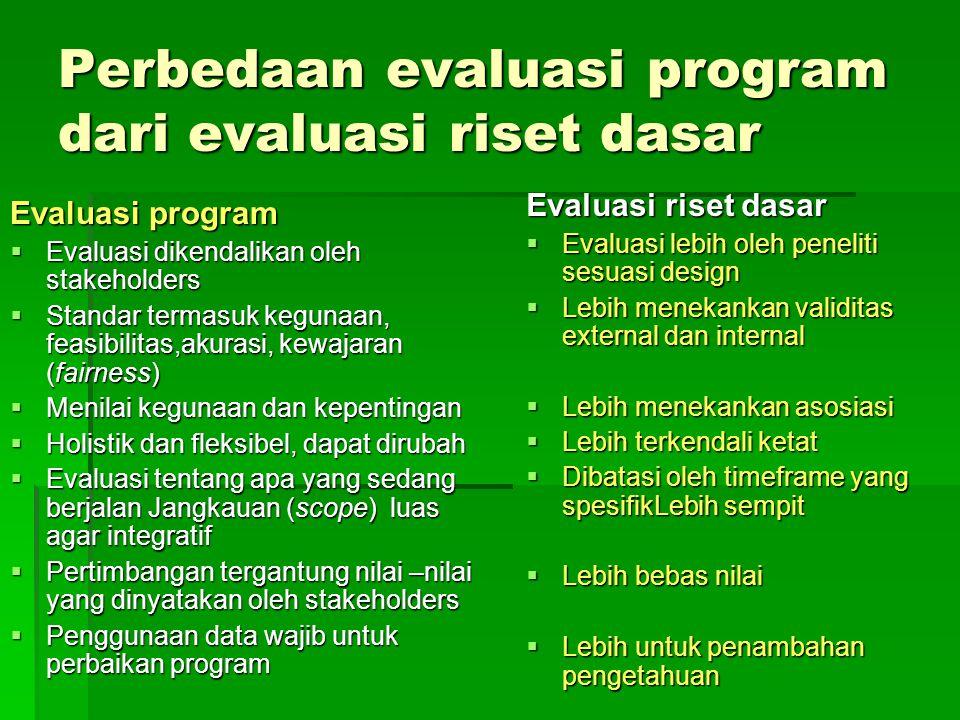 Perbedaan evaluasi program dari evaluasi riset dasar Evaluasi program  Evaluasi dikendalikan oleh stakeholders  Standar termasuk kegunaan, feasibilitas,akurasi, kewajaran (fairness)  Menilai kegunaan dan kepentingan  Holistik dan fleksibel, dapat dirubah  Evaluasi tentang apa yang sedang berjalan Jangkauan (scope) luas agar integratif  Pertimbangan tergantung nilai –nilai yang dinyatakan oleh stakeholders  Penggunaan data wajib untuk perbaikan program Evaluasi riset dasar  Evaluasi lebih oleh peneliti sesuasi design  Lebih menekankan validitas external dan internal  Lebih menekankan asosiasi  Lebih terkendali ketat  Dibatasi oleh timeframe yang spesifikLebih sempit  Lebih bebas nilai  Lebih untuk penambahan pengetahuan