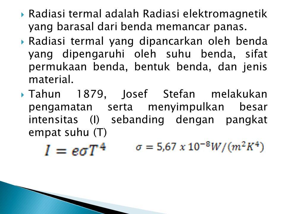  Daya yang dipancarkan oleh benda dapat menggunakan persamaan: Persamaan di atas merupakan persamaan Stefan-Boltzman.