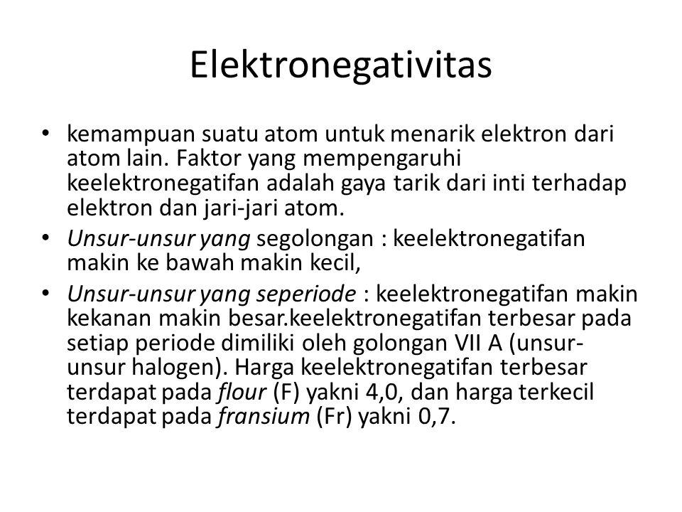 Afinitas Elektron energi yang dibebaskan / dilepaskan apabila suatu atom menerima elektron.