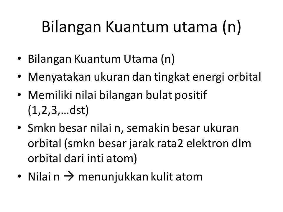 Bilangan kuantum utama (n) Jenis kulit-kulit dalam konfigurasi elektron dilambangkan dengan huruf K, L, M, N, dst.