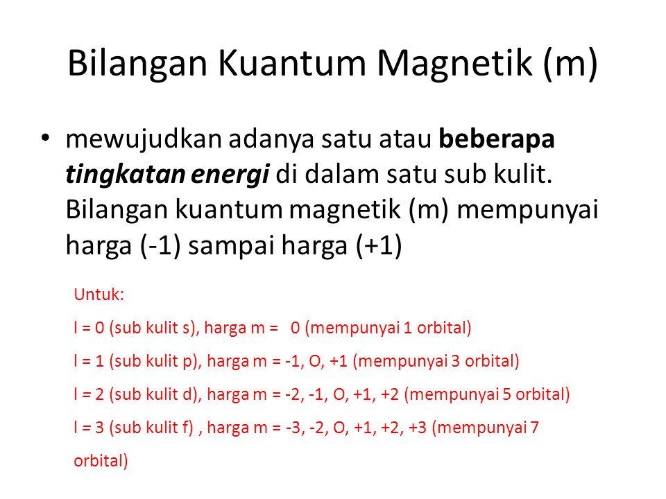 Bilangan Kuantum Spin (s) menunjukkan arah perputaran elektron pada sumbunya arah rotasi : searah jarum jam (nilai s = + ½ dan dalam orbital dituliskan dengan tanda panah ke atas atau berlawanan arah jarum jam).