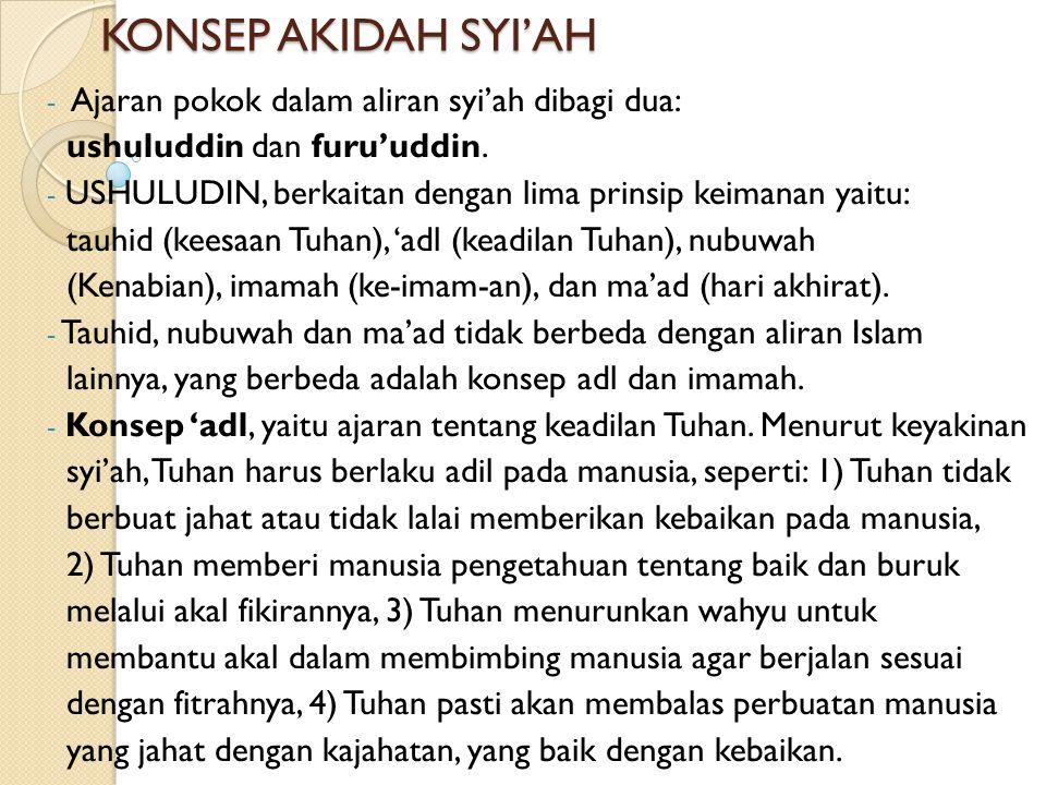 KONSEP AKIDAH SYI'AH - Ajaran pokok dalam aliran syi'ah dibagi dua: ushuluddin dan furu'uddin.