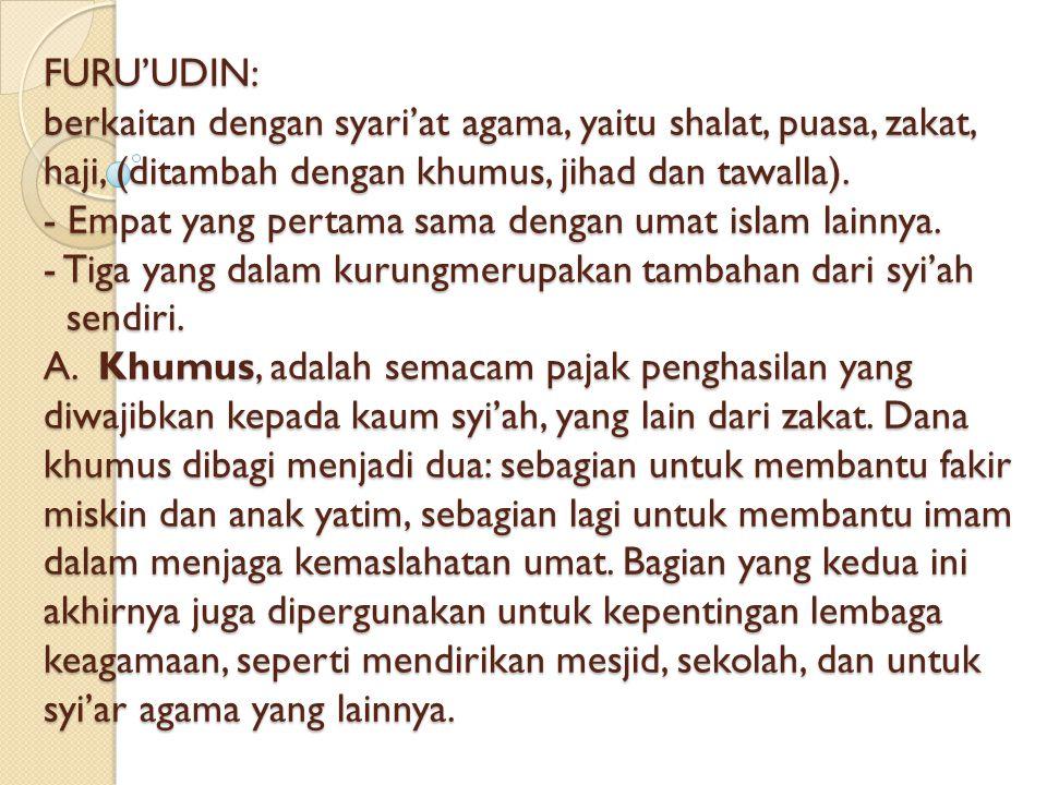 FURU'UDIN: berkaitan dengan syari'at agama, yaitu shalat, puasa, zakat, haji, (ditambah dengan khumus, jihad dan tawalla).