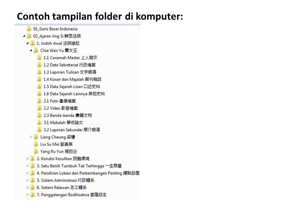 Layer 1, 2, dan 3 adalah BAKU dan sudah ada Penjelasan lengkap tentang masing-masing layer bisa dilihat dalam file Rincian Layer.xlsxRincian Layer.xlsx Khusus untuk Layer 4, harus dibuat sendiri sesuai dengan kondisi dan perkembangan di tiap misi atau KP Format nama folder untuk Layer 4 adalah: Tahun_Topik/Kegiatan