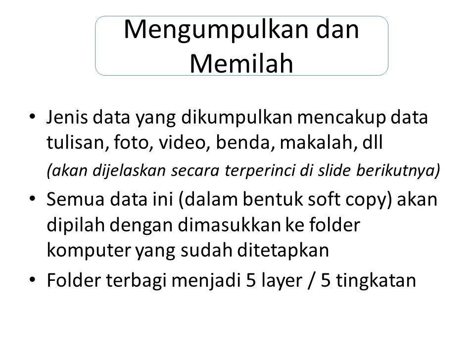 Contoh: Data Banjir Jakarta tahun 2002 Data-data tentang banjir Jakarta tahun 2002 (s.d program 5P) yang perlu dikumpulkan adalah: -Ceramah master terkait banjir jakarta tahun 2002 -Data sekretariat tentang banjir, pemberian bantuan, pembangunan rumah, dll -Laporan tertulis terkait -Kliping koran-majalah….
