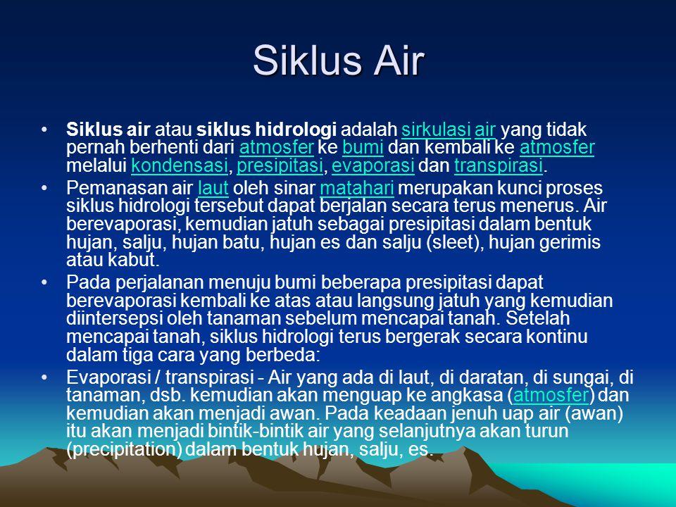 Silkus Air Infiltrasi / Perkolasi ke dalam tanah - Air bergerak ke dalam tanah melalui celah-celah dan pori-pori tanah dan batuan menuju muka air tanah.