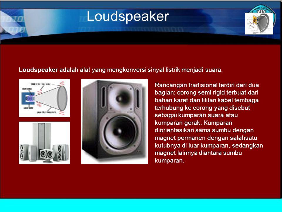 Loudspeaker Loudspeaker adalah alat yang mengkonversi sinyal listrik menjadi suara.