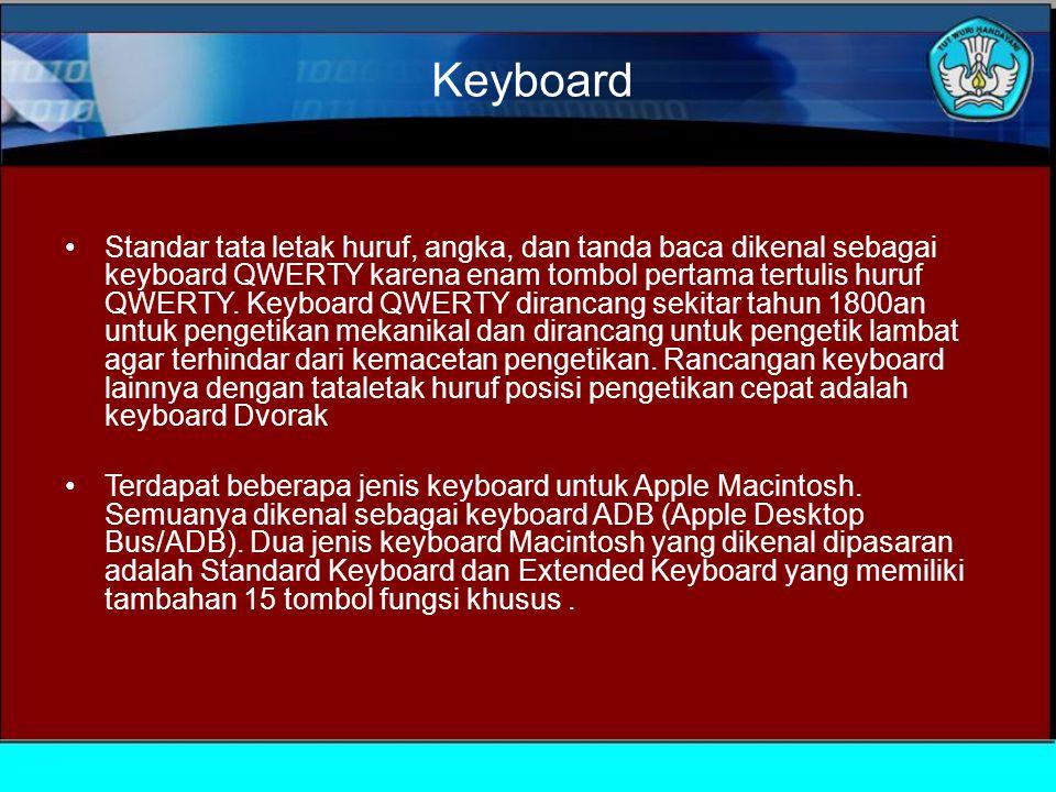 Keyboard Standar tata letak huruf, angka, dan tanda baca dikenal sebagai keyboard QWERTY karena enam tombol pertama tertulis huruf QWERTY.
