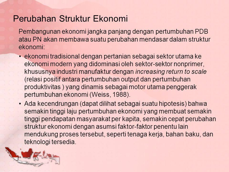 Menurut Kuznets, perubahan struktur ekonomi umumnya disebut transformasi struktural.