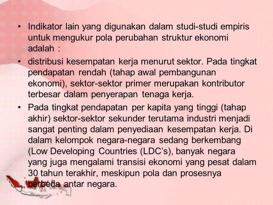 Variasi tersebut disebabkan oleh : Kondisi dan struktur awal ekonomi dalam negeri (basis ekonomi).
