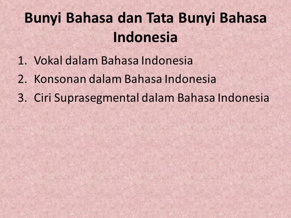 Vokal dalam Bahasa Indonesia Fonem vokal dalam bahasa Indonesia berjumlah enam, yakni [a], [i], [u], [é], [o], dan [e] (Marsono dalam Novi Resmini, 2006: 33)