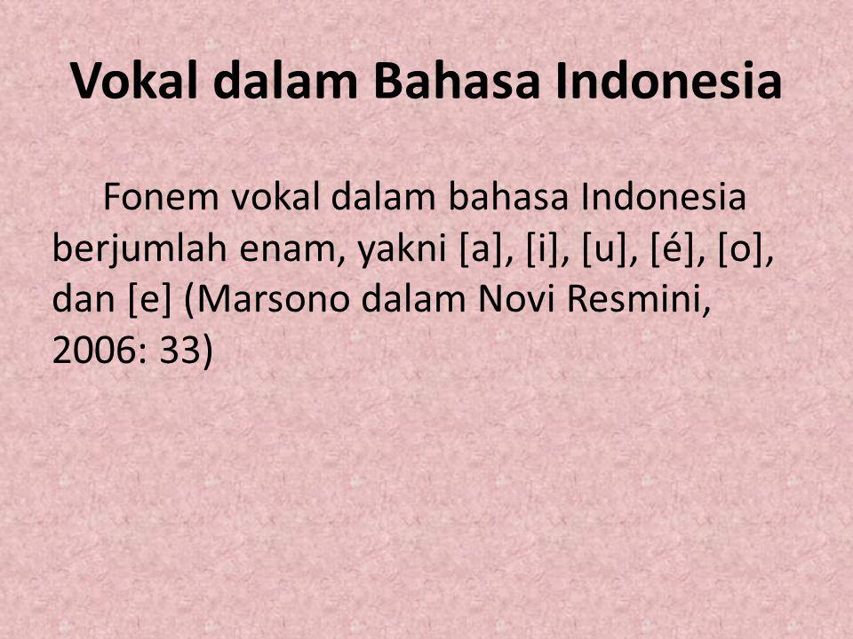 Cara Penulisan Vokal Penulisan vokal bahasa Indonesia berkenaan dengan fonem vokal itu sendiri adalah sebagai berikut.