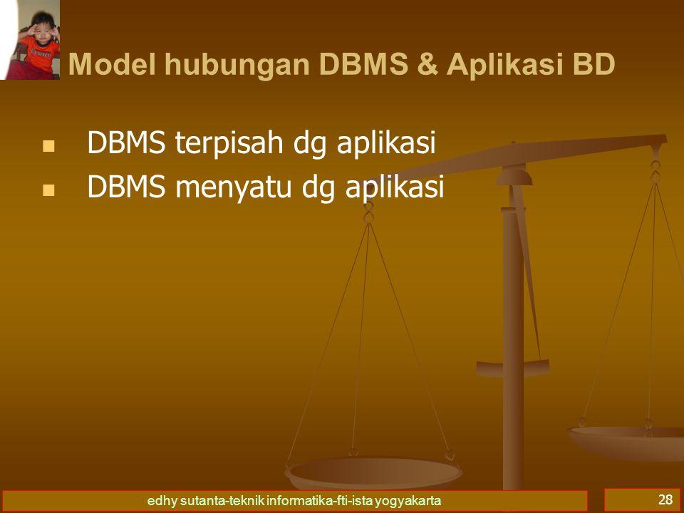 edhy sutanta-teknik informatika-fti-ista yogyakarta 29 DBMS terpisah dg aplikasi Aplikasi tidak berinteraksi lgs dg BD, ttp mll DBMS sbg perantara.