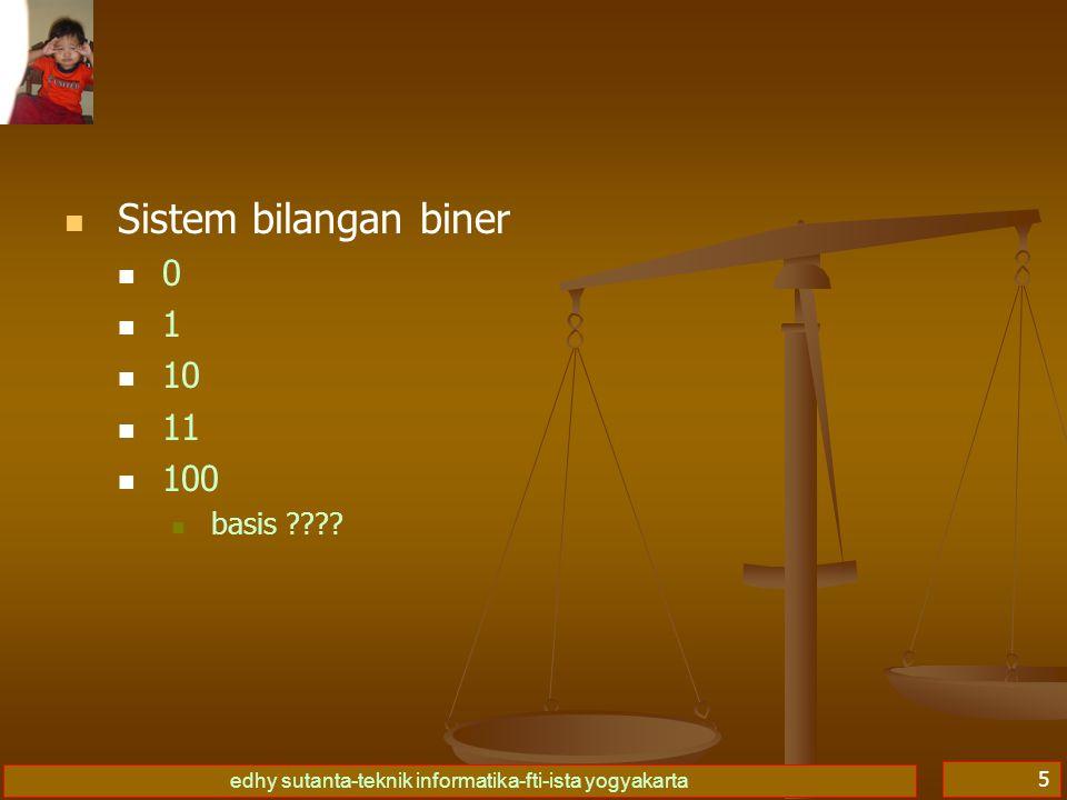 edhy sutanta-teknik informatika-fti-ista yogyakarta 6 Sistem bilangan oktal 0 1 2 3 4 5 6 7 10 11 12 basis ????