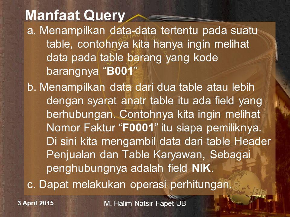3 April 2015 M.Halim Natsir Fapet UB Langkah membuat Query 1.