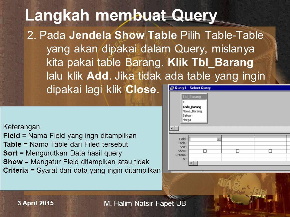 3 April 2015 M.Halim Natsir Fapet UB Langkah membuat Query 3.