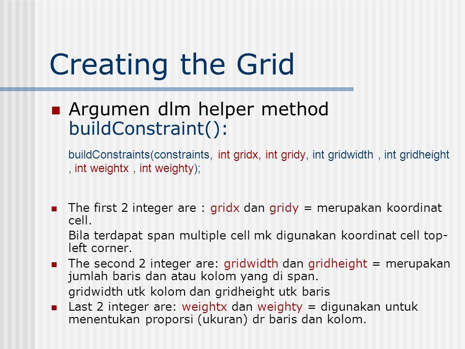Creating the Grid Menambahkan label ke dalam layout: // Name label buildConstraints(constraints, 0, 0, 1, 1, 100, 100); JLabel label1 = new JLabel( Name: ); gridbag.setConstraints(label1, constraints); add(label1); buildConstraints utk komponen lain: buildConstraints(constraints, 1, 0, 1, 1, 100, 100); // Name text field buildConstraints(constraints, 0, 1, 1, 1, 100, 100); // password label buildConstraints(constraints, 1, 1, 1, 1, 100, 100); // password text field buildConstraints(constraints, 0, 2, 2, 1, 100, 100); // OK Button