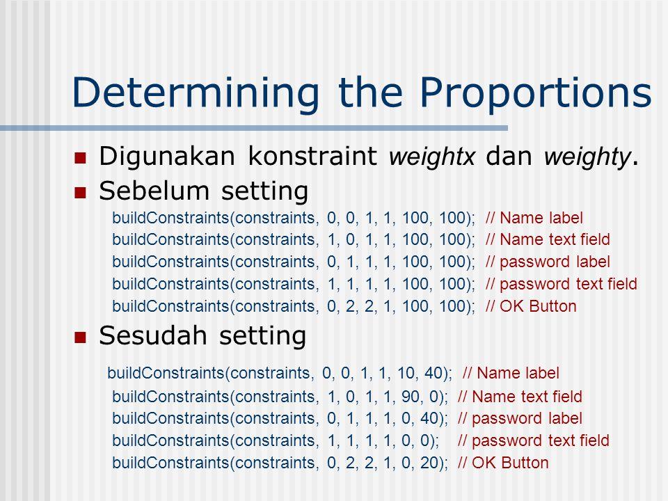 Creating the Grid Setelah membangun konstrain selanjutnya attach them to an object dgn menggunakan method setConstraint() // Name label buildConstraints(constraints, 0, 0, 1, 1, 100, 100); JLabel label1 = new JLabel( Name: ); gridbag.setConstraints(label1, constraints); add(label1);
