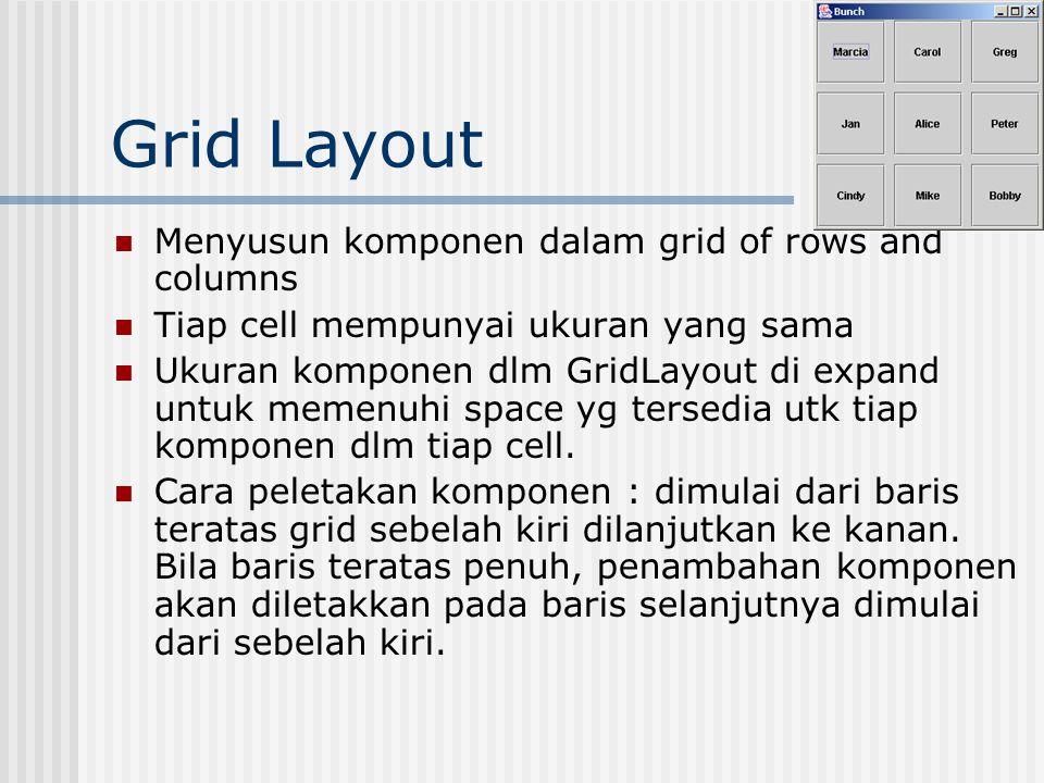 Grid Layout Cara menggunakan kelas gid layout: GridLayout gr = new GridLayout(10,30,40,40); Kontruktor : GridLayout(int, int); GridLayout(int, int, int, int); - jumlah baris -jumlah kolom -horizontal gap, dlm pixel -vertical gap, dlm pixel Default gap = 0 pixel Contoh program: Bunch.java