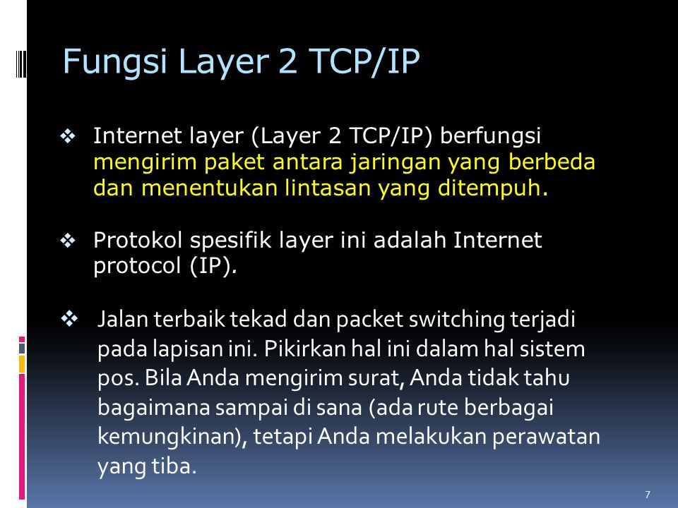 Fungsi Layer 1 TCP/IP o Network layer (Layer 1 TCP/IP) juga disebut layer host-to-network.