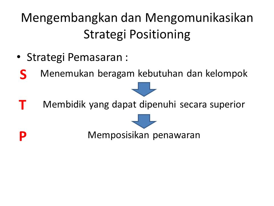Positioning Tindakan merancang penawaran dan citra perusahaan agar mendapatkan tempat khusus dalam pikiran pasar sasaran Tujuan : Menempatkan merek dalam pikiran konsumen untuk memaksimalkan manfaat potensial bagi perusahaan Hasil : Proposisi nilai yang terfokus pada pelanggan