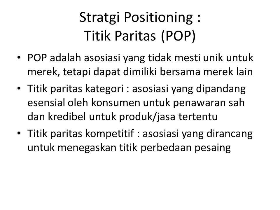 Strategi Positioning : Titik Perbedaan (POD) POD adalah atribut/manfaat yang secara kuat diasosiasikan konsumen pada suatu merek, dinilai positif dan diyakini tidak dapat ditemukan kesamaannya pada merek pesaing POD harus mendemonstrasikan keunggulan yang jelas