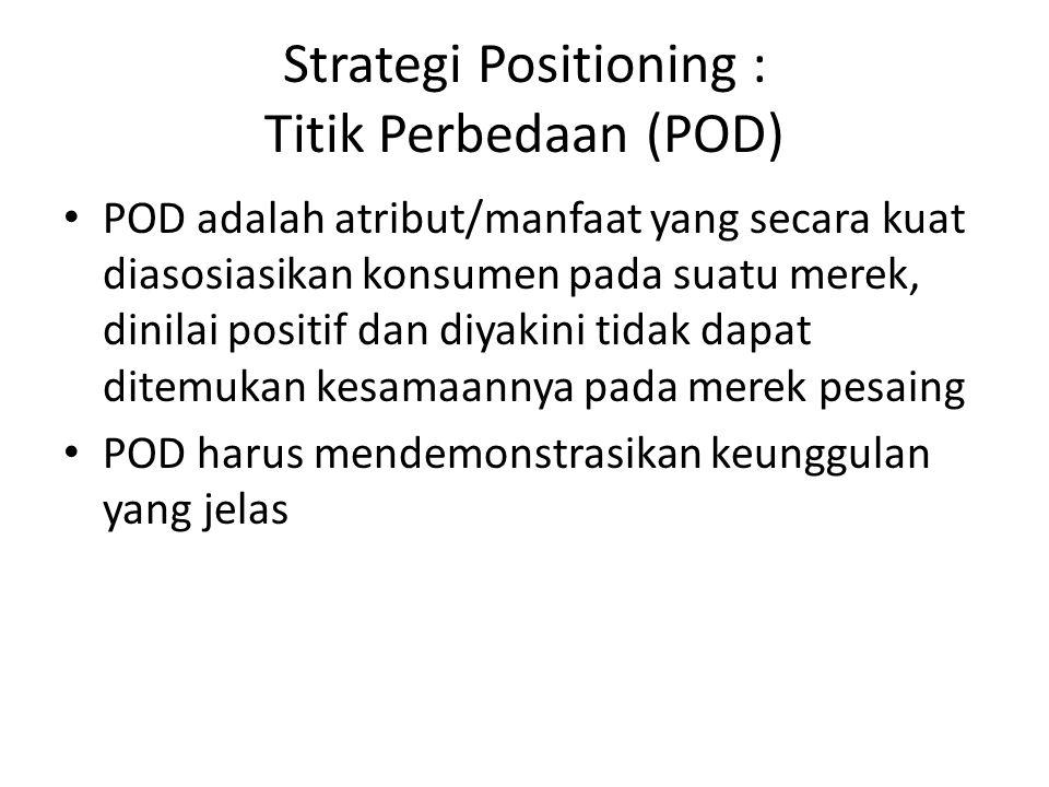 POP dan POP POP digerakkan oleh kebutuhan : – keanggotaan kategori – menghilangkan POD pesaing Tingkatan POD : – Atribut merek – Manfaat merek – Nilai merek Banyak atribut dan manfaat pembentuk POP dan POD berkorelasi negatif (positioning tumpang tindih).