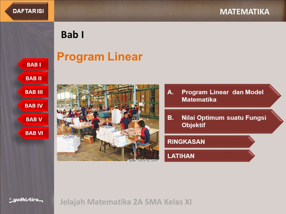Program linear digunakan untuk menyelesaikan model matematika yang memiliki tujuan yang hendak dicapai A.Program Linear dan Model MatematikaProgram Linear dan Model Matematika BAB I Program Linear Bab I A.