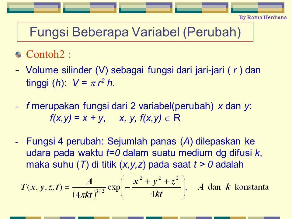 Definisi: Fungsi dua variabel terdefinisi pada bidang domain D adalah suatu aturan pemetaan dimana setiap titik (x,y) di dalam D berasosiasi dengan satu bilangan real(nyata) z=f(x,y)  R.