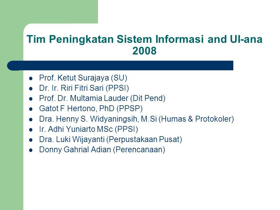 Executive Summary Berdasar Surat Tugas Rektor UI no: 84a/PT02.H/U/TU/2008, telah dibentuk Tim Tim Peningkatan Peringkat Webometrics, yang telah melakukan evaluasi sistem dan sosialisasi sistem pada pada 12 Fakultas dan Program Pasca Sarjana.