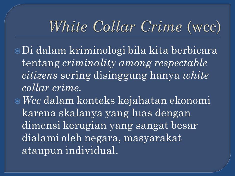  Selain wcc, kecenderungan kejahatan yang berkembang akhir-akhir ini di lingkungan profesional yang dalam isitilah kriminologi dinamakan the professional fringe violator.