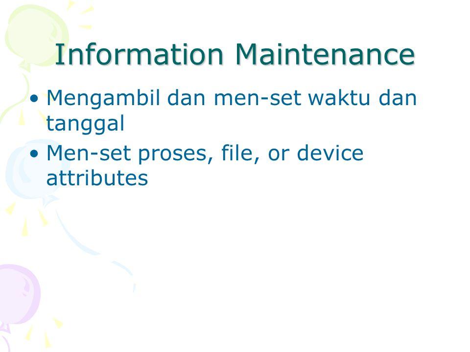 Komunikasi Menciptakan, menghapus hubungan komunikasi Mengirim dan menerima pesan Mentransfer status informasi Attach atau detach remote device Komunikasi dapat dilakukan melalui message passing atau shared memory