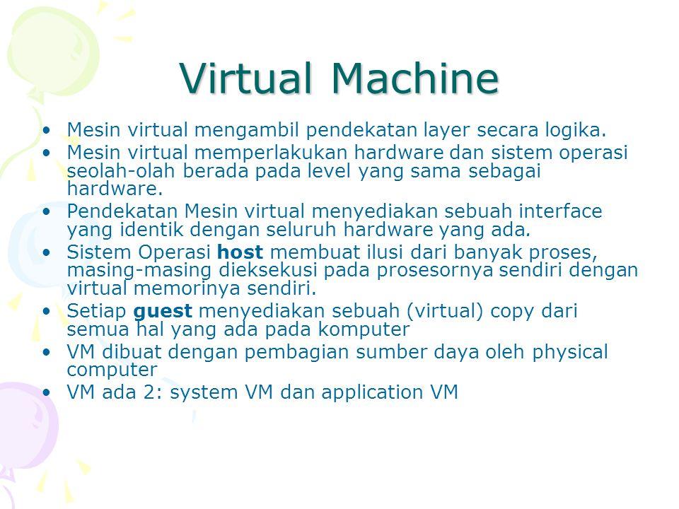 Virtual Machine (2) Sumber daya dari fisik dibagi untuk membuat VM: –Penjadwalan CPU bisa menciptakan penampilan seakan user mempunyai prosesor sendiri –Spooling bisa menyediakan virtual card readers dan virtual line printers –Sebuah time-sharing terminal, yang dapat melayani user dengan tepat VM software membutuhkan disk space untuk menyediakan Virtual memory dan spooling, yaitu sebuah virtual disk