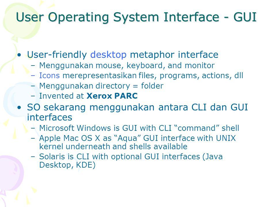 Sistem Calls System calls menyediakan interface antara proses (program yang sedang dijalankan) dan sistem operasi.