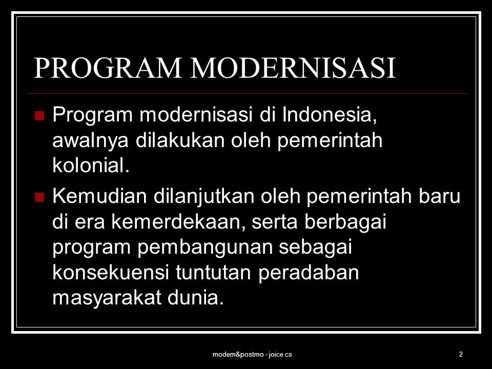 modern&postmo - joice cs3 PROGRAM MODERNISASI Desain, dapat dikatakan 'modern' jika lahir dari pemikiran modern dan tumbuh di lingkungan masyarakat modern.