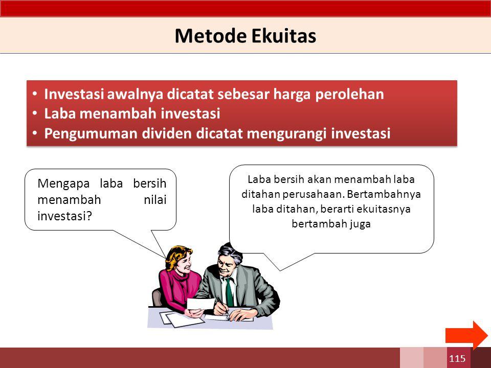 Metode Ekuitas – Anak Perusahaan Pencatatan Awal investasi Dalam metode ekuitas, pencatatan pada awal investasi sama dengan pencatatan yang dilakukan dengan menggunakan metode lainnya.
