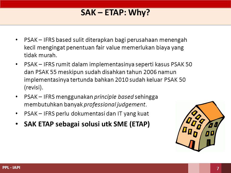 SAK ETAP SAK ETAP: Standar akuntansi keuangan untuk entitas tanpa akuntabilitas publik Digunakan untuk entitas tanpa akuntabilitas publik.
