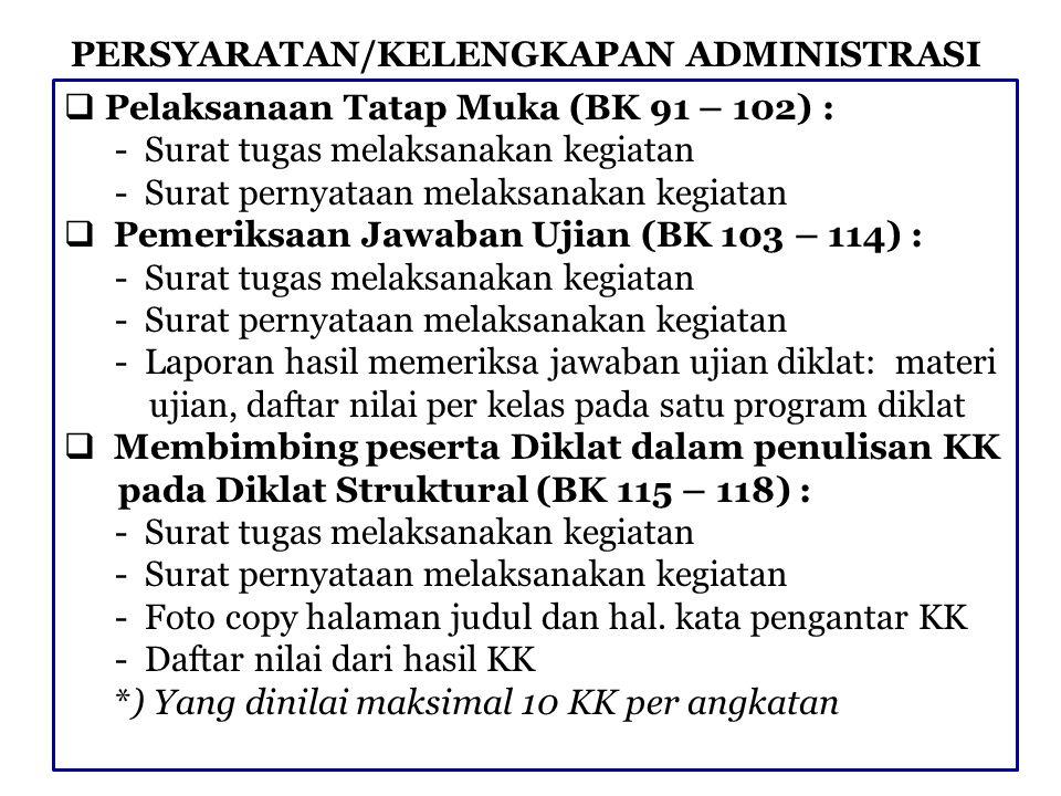 PERSYARATAN/KELENGKAPAN ADMINISTRASI  Membimbing PKL/OL Pada Diklat Struktural (BK 119 – 122) : - Surat tugas melaksanakan kegiatan - Surat pernyataan melaksanakan kegiatan - Laporan hasil pembimbingan PKL/OL: deskripsi ma- teri bimbingan, peserta, lokasi, dan pelaksanaan PKL/OL *) Pelaksanaan PKL/OL minimal 3 hari terus menerus  Menjadi Moderator/Narasumber Seminar/Loka karya Pada Diklat Struktural (BK 123 – 126) : - Surat tugas melaksanakan kegiatan - Surat pernyataan melaksanakan kegiatan - Laporan pelaksanaan : deskripsi singkat pelaksanaan seminar dilampiri materi seminar