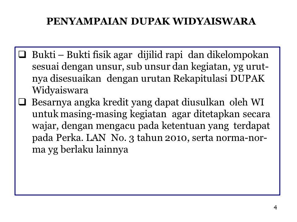 PENYAMPAIAN DUPAK WIDYAISWARA  Untuk memperlancar tugas STP dan TPI, DUPAK yang diajukan agar dilengkapi pula dng: 1.