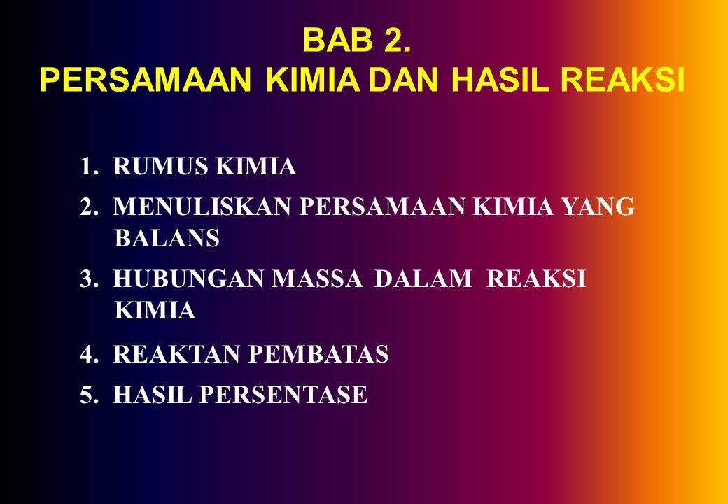 BAB 2.PERSAMAAN KIMIA DAN HASIL REAKSI 1. RUMUS KIMIA 2.