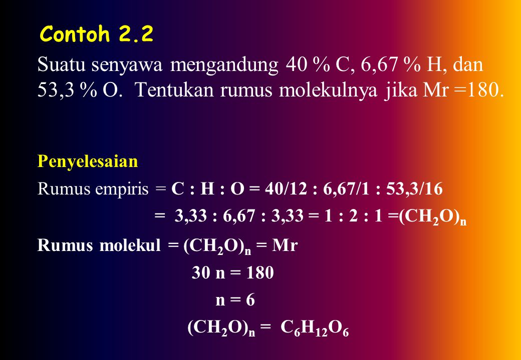 Contoh 2.2 Suatu senyawa mengandung 40 % C, 6,67 % H, dan 53,3 % O.