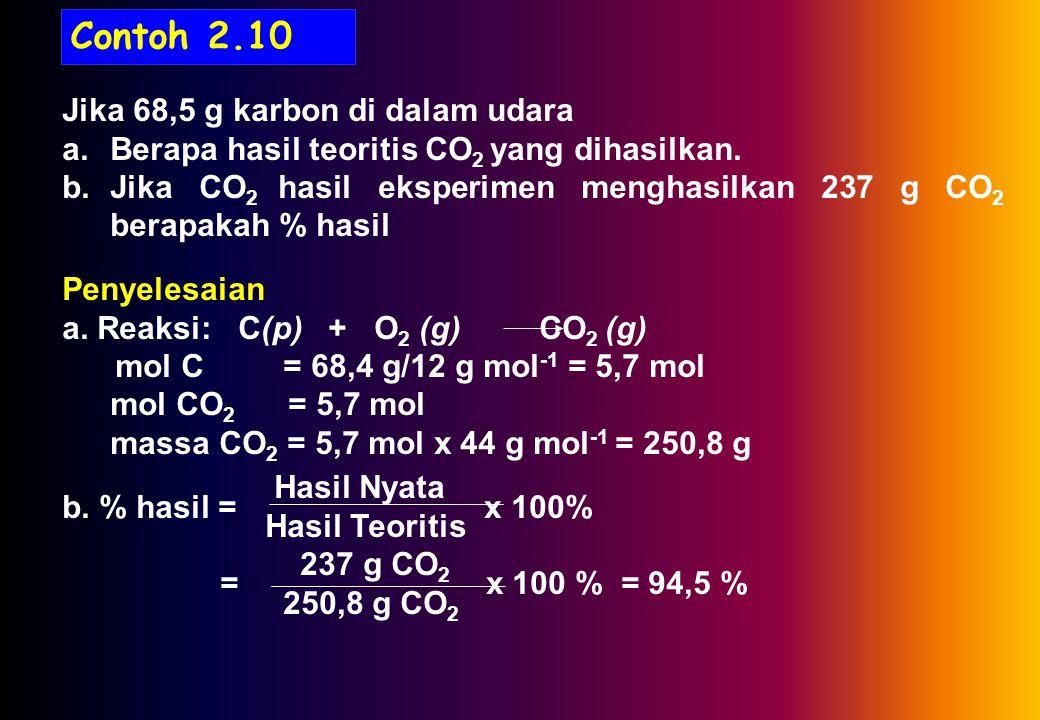 Contoh 2.10 Jika 68,5 g karbon di dalam udara a.Berapa hasil teoritis CO 2 yang dihasilkan.